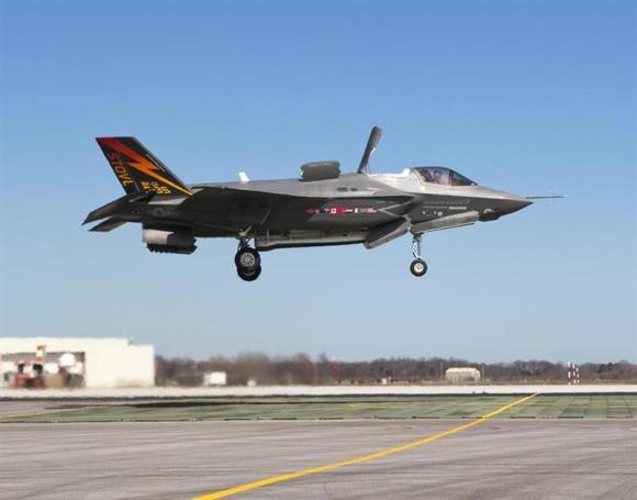 The Lockheed Martin F-35B Lightning II stealth fighter lands vertically for the first time at Naval Air Station Patuxent River, Maryland