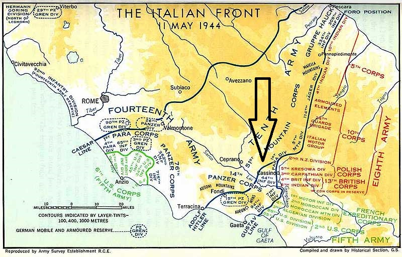 11 mei 44, de dag dat de geallieerden bij Monte Cassino door de Gustav linie braken
