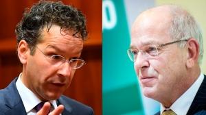 AMSTERDAM - ABN AMRO presenteert jaarcijfers. foto: Gerrit Zalm (L) en Kees van Dijkhuizen. (R) ANP  LEX VAN LIESHOUT