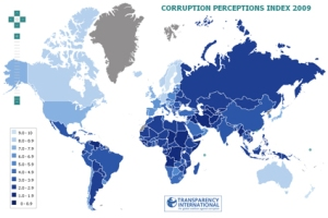"""Image above: Map showing corruption in countries. From Transparency International, who concludes that """"Muslim-majority Countries Among the Most Corrupt on Earth"""""""