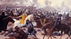 Sahibzada Ajit Singh Ji was Guru Ji's eldest son, born to Mata Sundhri Ji on 9th November 1686 at Anandpur Sahib. He received the gift of Amrit from the panj piaray on Baisakhi 1699. In the battle of Sarsa he had commanded the rear guard of Guru Ji's camp.  In the Chamkaur fortress S.Ajit Singh Ji had seen the Sikh warriors go out in fives and die heroic deaths. He approched his father and asked if he could be next. Guru Ji took him in his arms and blessed him. Guru Ji sent him out with five Sikhs - Alim Singh, Jawahar Singh, Dhyan Singh, Sukha Singh and Bir Singh. The enemy fell before them as shrubs in a wind storm as they fought with great valour. When their arrows had been spend and swords broken they fell one by one. Sahibzada Ajit Singh at the tender age of 18 years died in battle as befitting a Sikh of Guru Gobind Singh Ji.